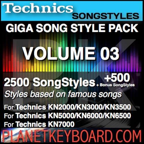 GIGA SONG STYLE PACK Vol 03 Для клавіятур TECHNICS - 2500 SongStyles + 500 Bonus Styles Song