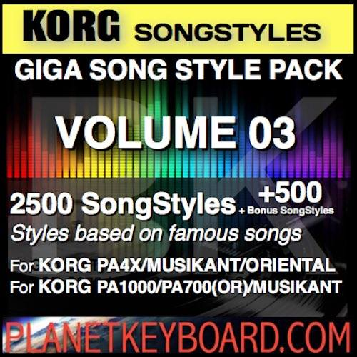 GIGA SONG STYLE PACK Vol 03 For KORG Keyboards – 2500 SongStyles + 500 Bonus Song Styles