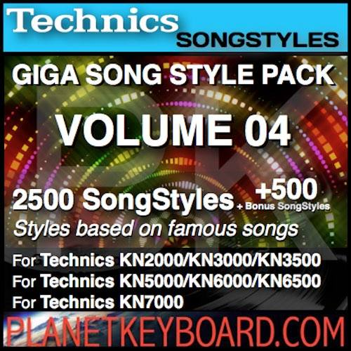 GIGA SONG STYLE PACK Vol 04 For TECHNICS Keyboards – 2500 SongStyles + 500 Bonus Song Styles