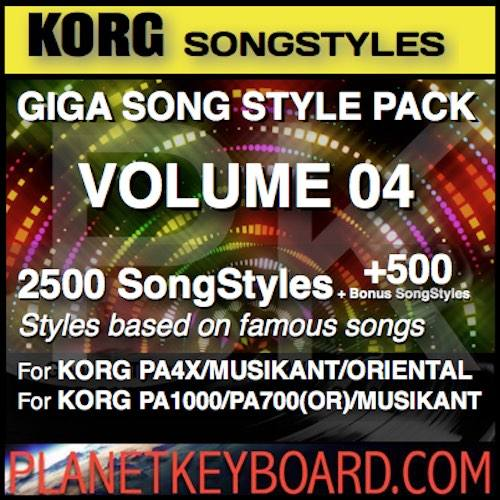 GIGA SONG STYLE PACK Vol 04 Foar KORG Keyboards - 2500 SongStyles + 500 Bonus Song Styles