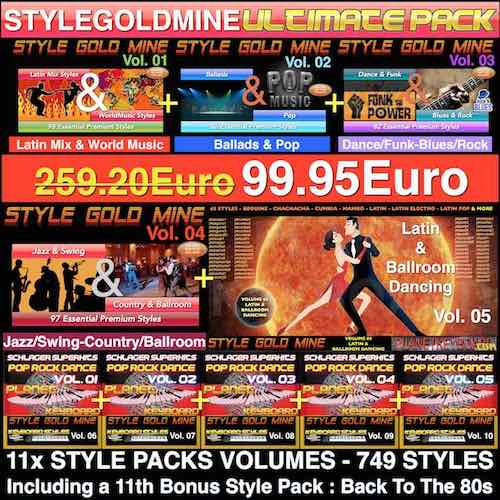 StyleGoldMine Ultimate Pack 749 STYLES (StyleGoldMine Vol 01 To Vol 10) For Ketron Korg Roland Solton Technics Yamaha Keyboards